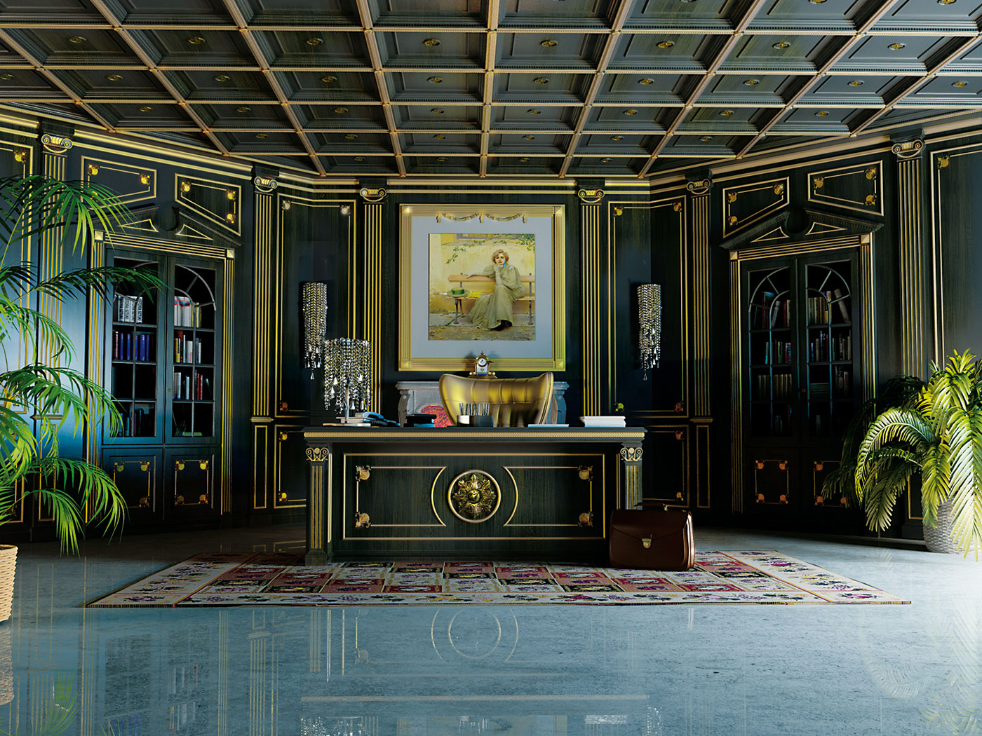 klassische designer mobel von turati boiseries, boiserie für das klassische büro | turati, Design ideen